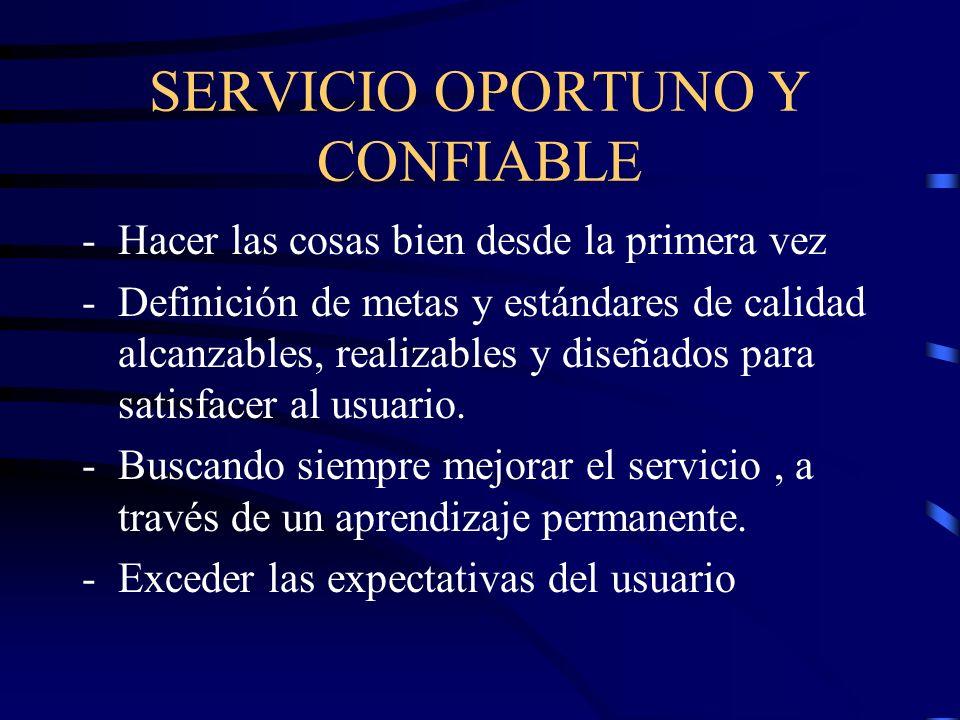 SERVICIO OPORTUNO Y CONFIABLE -Hacer las cosas bien desde la primera vez -Definición de metas y estándares de calidad alcanzables, realizables y diseñ