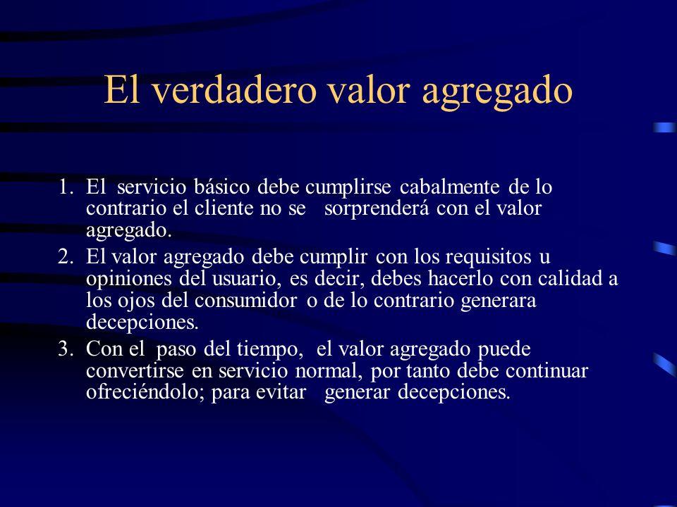 El verdadero valor agregado 1.El servicio básico debe cumplirse cabalmente de lo contrario el cliente no se sorprenderá con el valor agregado. 2.El va