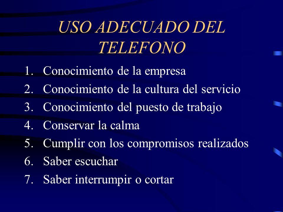 USO ADECUADO DEL TELEFONO 1.Conocimiento de la empresa 2.Conocimiento de la cultura del servicio 3.Conocimiento del puesto de trabajo 4.Conservar la c