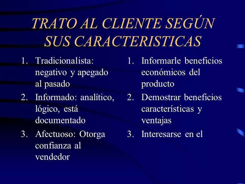 TRATO AL CLIENTE SEGÚN SUS CARACTERISTICAS 1.Tradicionalista: negativo y apegado al pasado 2.Informado: analítico, lógico, está documentado 3.Afectuos
