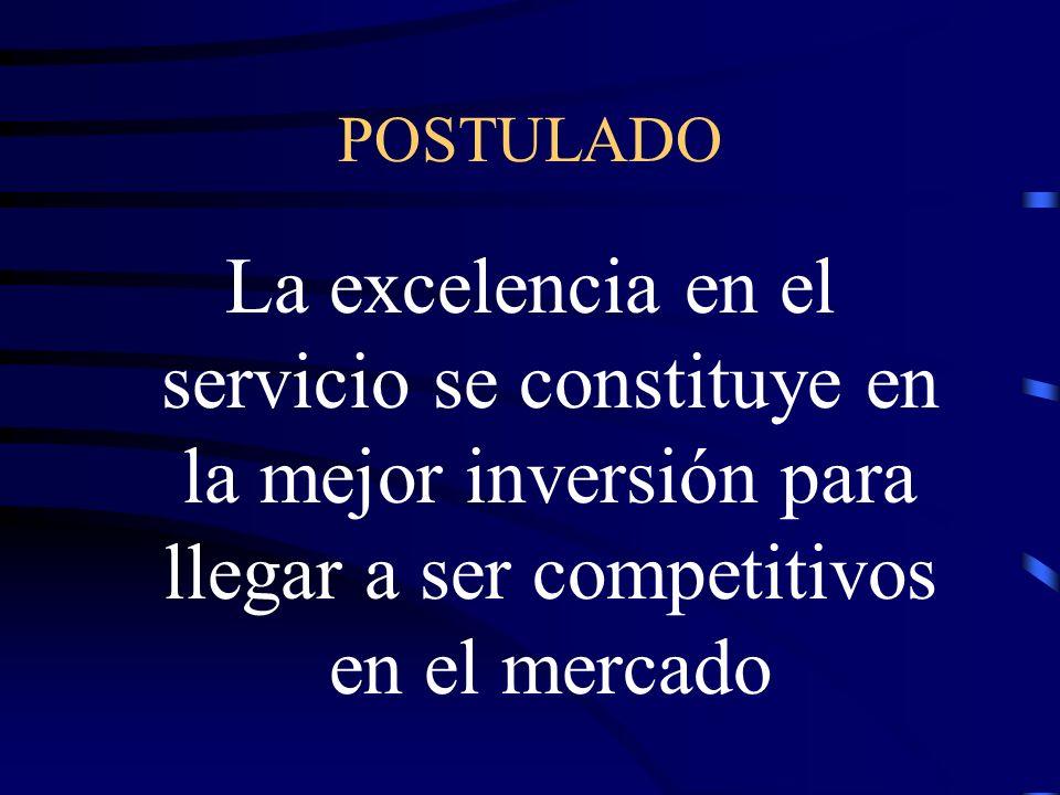 POSTULADO La excelencia en el servicio se constituye en la mejor inversión para llegar a ser competitivos en el mercado