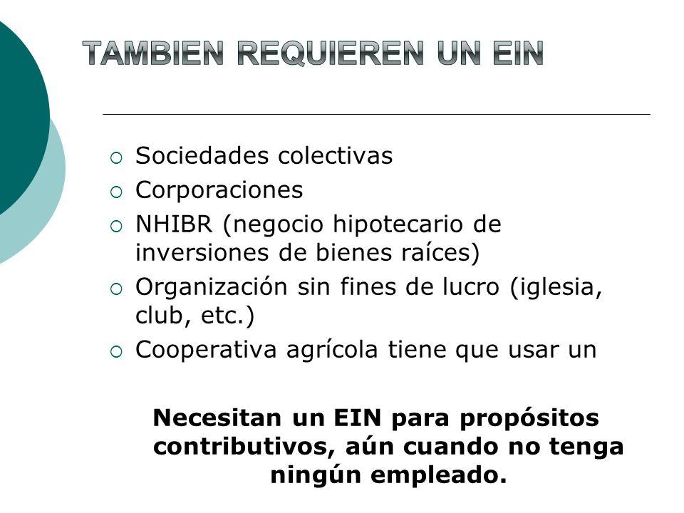 Sociedades colectivas Corporaciones NHIBR (negocio hipotecario de inversiones de bienes raíces) Organización sin fines de lucro (iglesia, club, etc.)