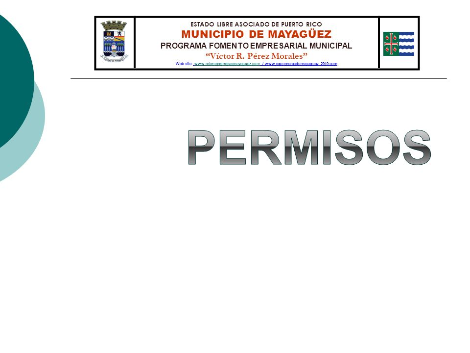 ESTADO LIBRE ASOCIADO DE PUERTO RICO MUNICIPIO DE MAYAGÜEZ PROGRAMA FOMENTO EMPRESARIAL MUNICIPAL Víctor R. Pérez Morales Web site: www.microempresasm