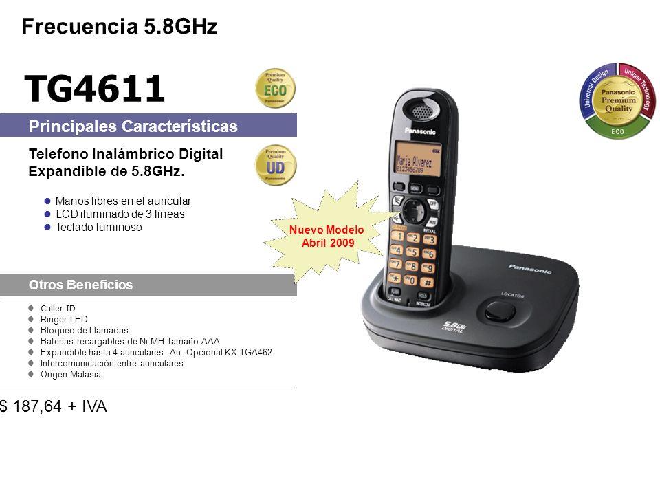 Caller ID Ringer LED Bloqueo de Llamadas Baterías recargables de Ni-MH tamaño AAA Expandible hasta 4 auriculares.