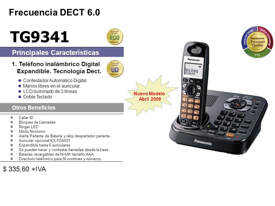 Caller ID Bloqueo de Llamadas Ringer LED Modo Nocturno Alerta Parlante de Batería y reloj despertador parlante. Auricular opcional KX-TGA931 Expandibl