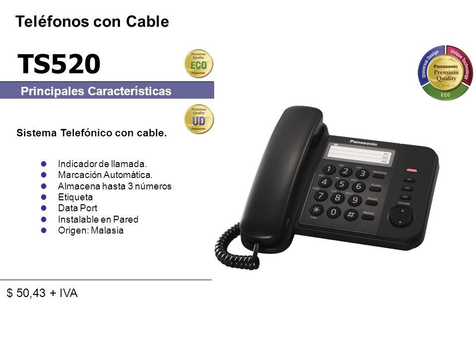 TS520 Sistema Telefónico con cable. Indicador de llamada. Marcación Automática. Almacena hasta 3 números Etiqueta Data Port Instalable en Pared Origen