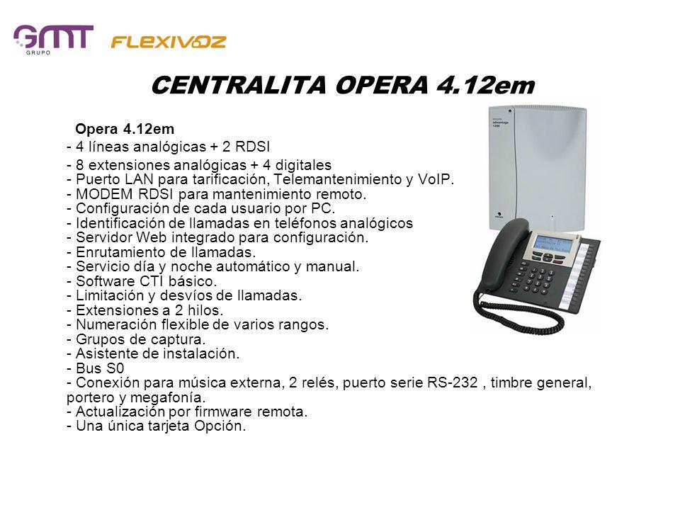 CENTRALITA OPERA 4.12em Opera 4.12em - 4 líneas analógicas + 2 RDSI - 8 extensiones analógicas + 4 digitales - Puerto LAN para tarificación, Telemante
