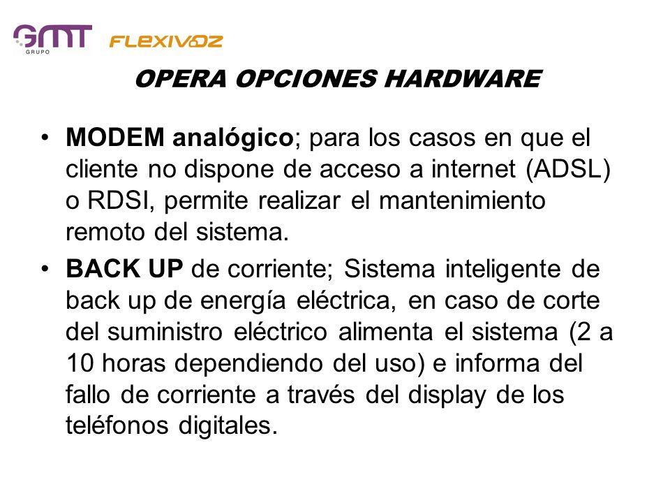 OPERA OPCIONES HARDWARE MODEM analógico; para los casos en que el cliente no dispone de acceso a internet (ADSL) o RDSI, permite realizar el mantenimi
