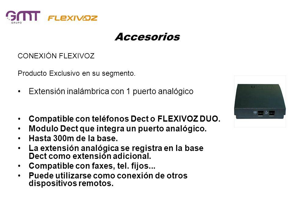 Accesorios CONEXIÓN FLEXIVOZ Producto Exclusivo en su segmento. Extensión inalámbrica con 1 puerto analógico Compatible con teléfonos Dect o FLEXIVOZ