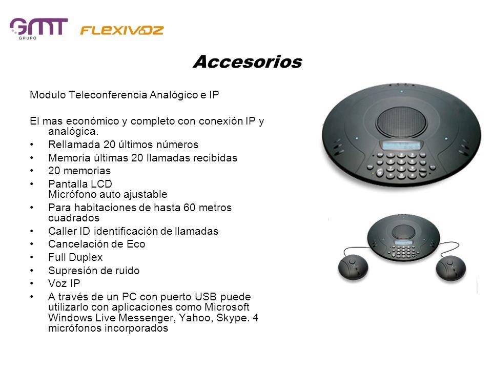 Accesorios Modulo Teleconferencia Analógico e IP El mas económico y completo con conexión IP y analógica. Rellamada 20 últimos números Memoria últimas