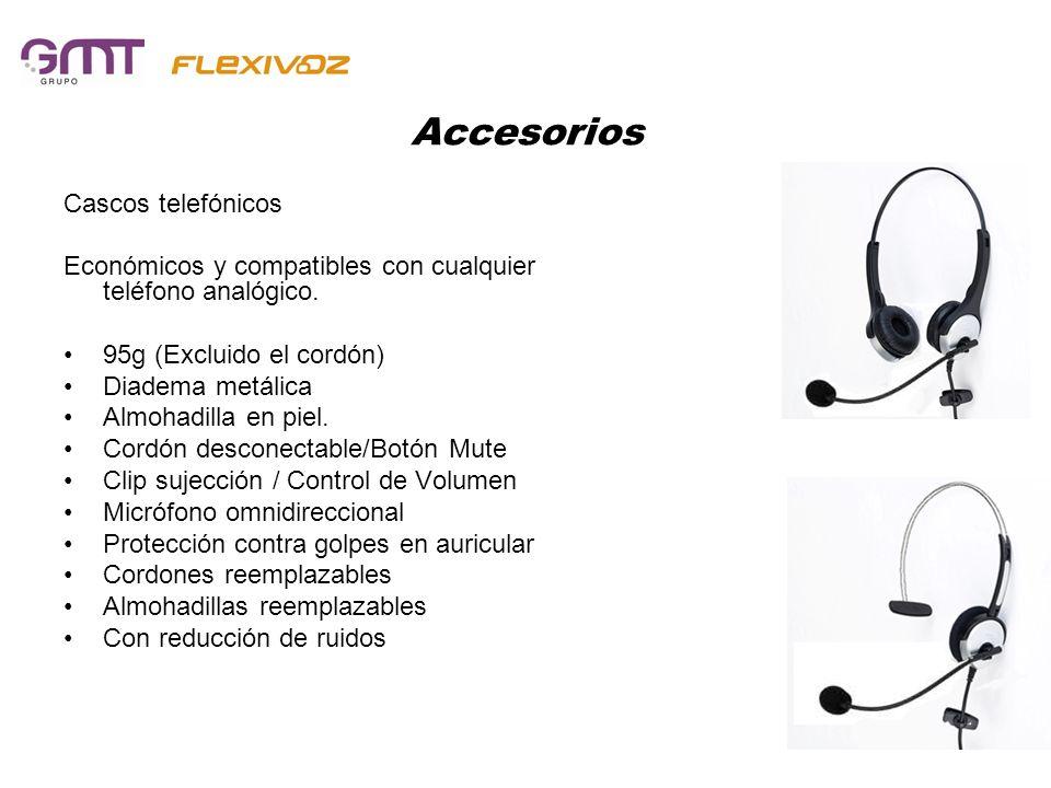 Accesorios Cascos telefónicos Económicos y compatibles con cualquier teléfono analógico. 95g (Excluido el cordón) Diadema metálica Almohadilla en piel