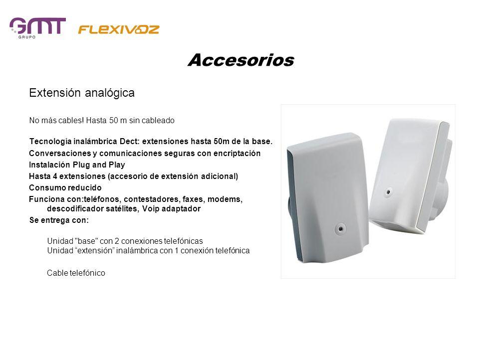 Accesorios Extensión analógica No más cables! Hasta 50 m sin cableado Tecnología inalámbrica Dect: extensiones hasta 50m de la base. Conversaciones y