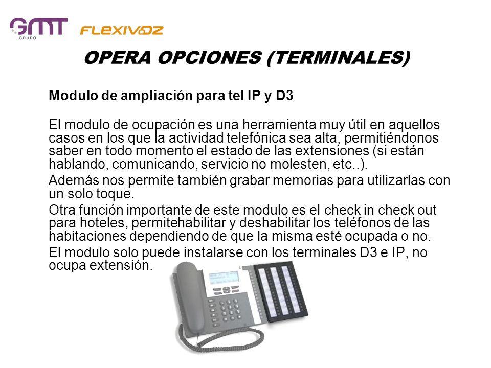 OPERA OPCIONES (TERMINALES) Modulo de ampliación para tel IP y D3 El modulo de ocupación es una herramienta muy útil en aquellos casos en los que la a
