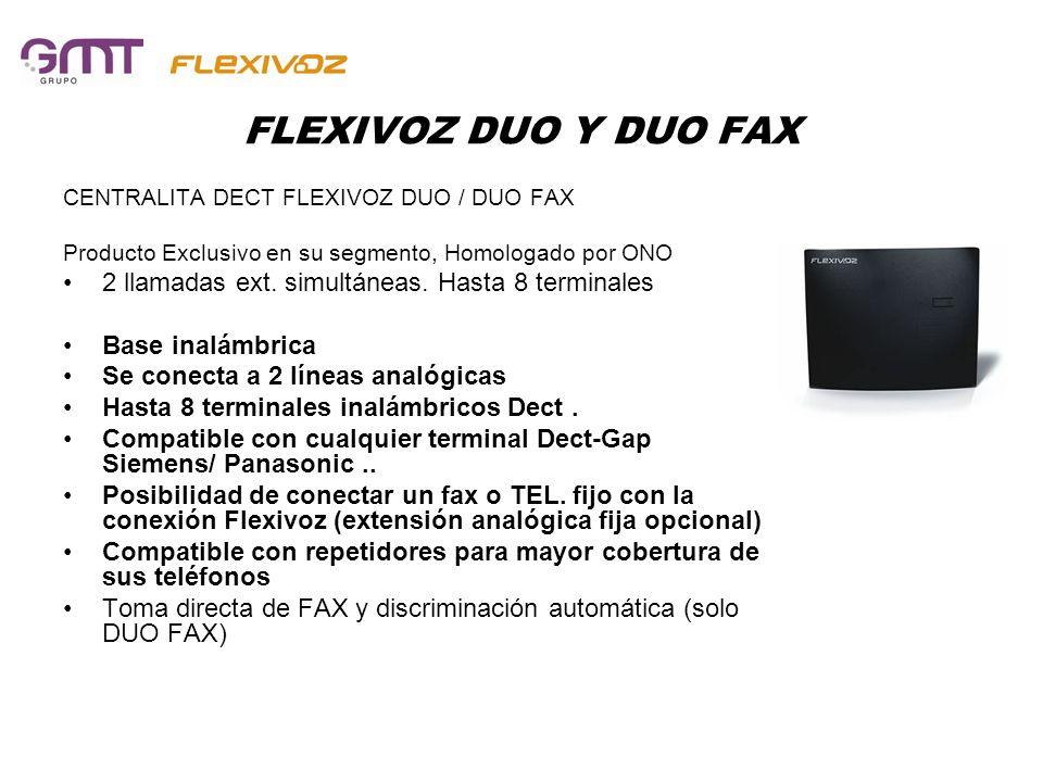 FLEXIVOZ DUO Y DUO FAX CENTRALITA DECT FLEXIVOZ DUO / DUO FAX Producto Exclusivo en su segmento, Homologado por ONO 2 llamadas ext. simultáneas. Hasta