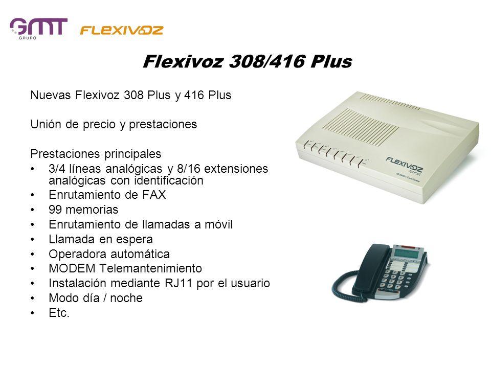 Flexivoz 308/416 VM CORREO Nuevas Flexivoz 308 VM y 416 VM Unión de precio y prestaciones Prestaciones principales 3/4 líneas analógicas y 8/16 extensiones analógicas con identificación Enrutamiento de FAX Correo de voz de cada extensión 99 memorias Enrutamiento de llamadas a móvil Llamada en espera Operadora automática MODEM Telemantenimiento Instalación mediante RJ11 por el usuario Modo día / noche Etc.