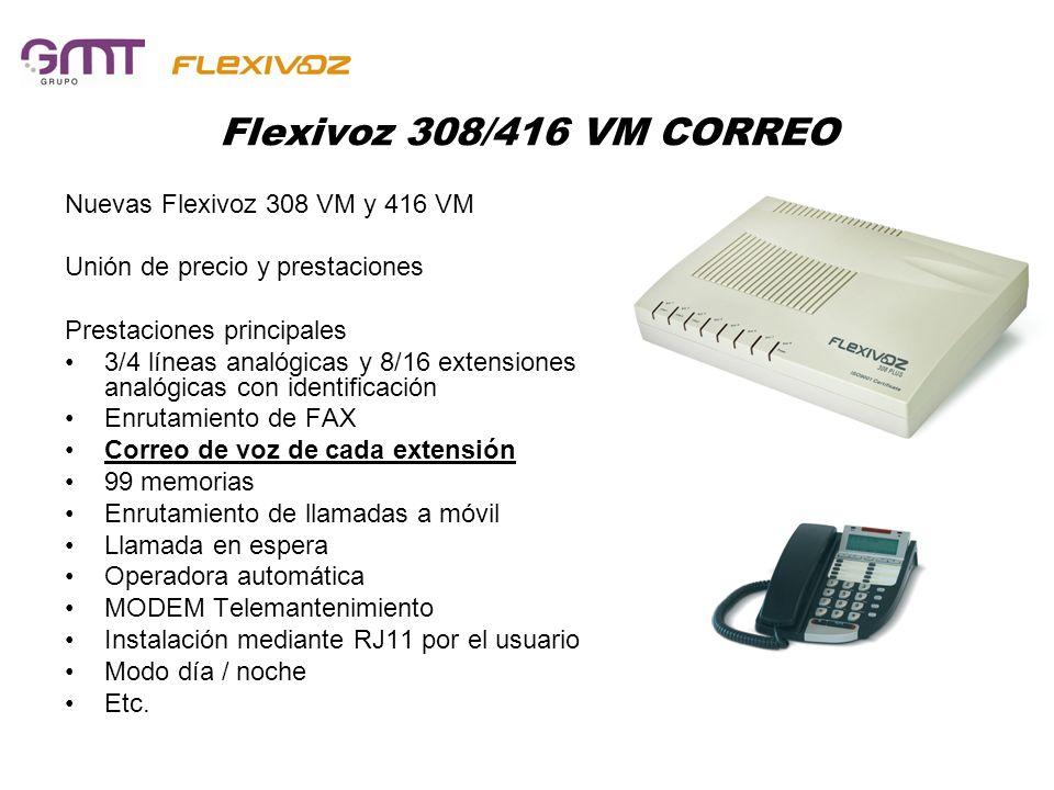 Flexivoz 308/416 VM CORREO Nuevas Flexivoz 308 VM y 416 VM Unión de precio y prestaciones Prestaciones principales 3/4 líneas analógicas y 8/16 extens