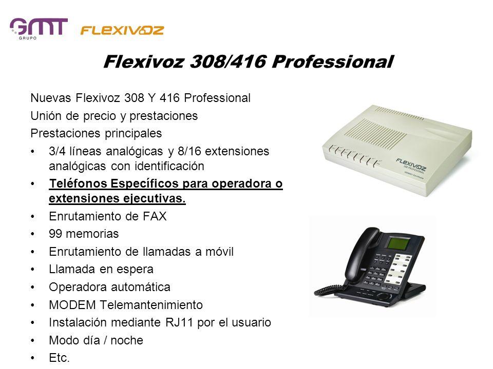 Flexivoz 832 OFFICE Nueva Flexivoz 832 OFFICE Mismas prestaciones gama Professional Prestaciones principales 8 líneas analógicas y 32 extensiones analógicas con identificación, ampliable a 16 líneas y 64 extensiones Teléfonos Específicos para operadora o extensiones ejecutivas.