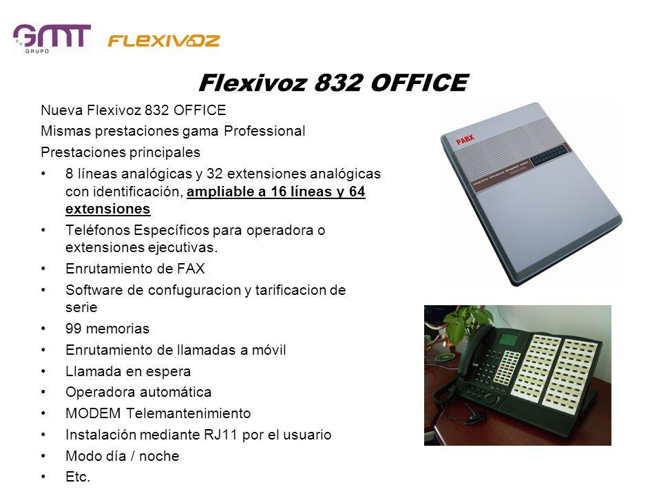 Flexivoz 832 OFFICE Nueva Flexivoz 832 OFFICE Mismas prestaciones gama Professional Prestaciones principales 8 líneas analógicas y 32 extensiones anal