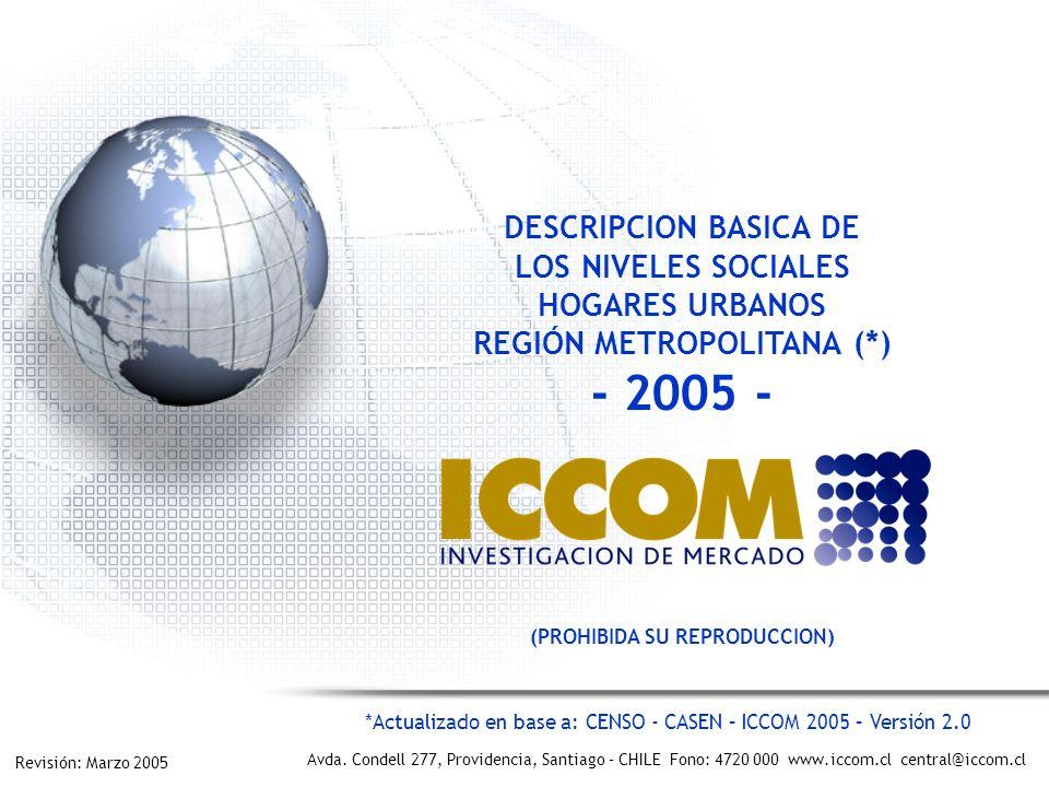 2 - Región Metropolitana Urbano - ICCOM – Marzo 2005 – Prohibida su reproducción.
