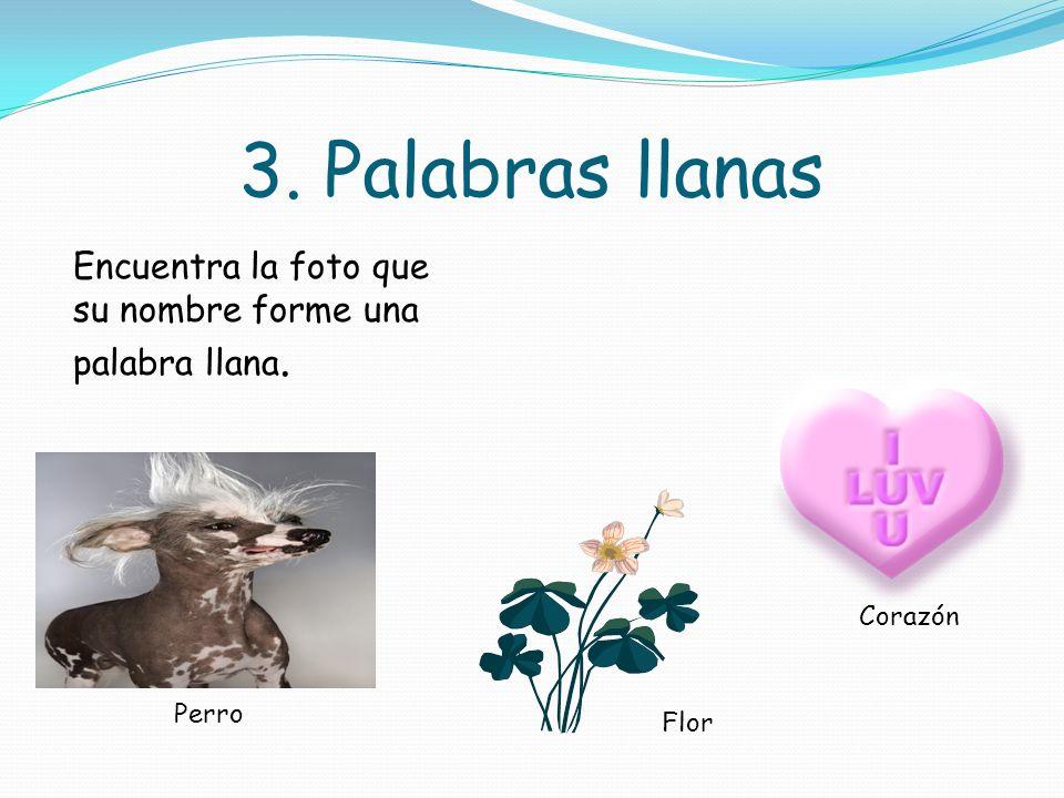 2. Palabras llanas Encuentra la imágen que su nombre forme una palabra llana. águila Tigre Ratón