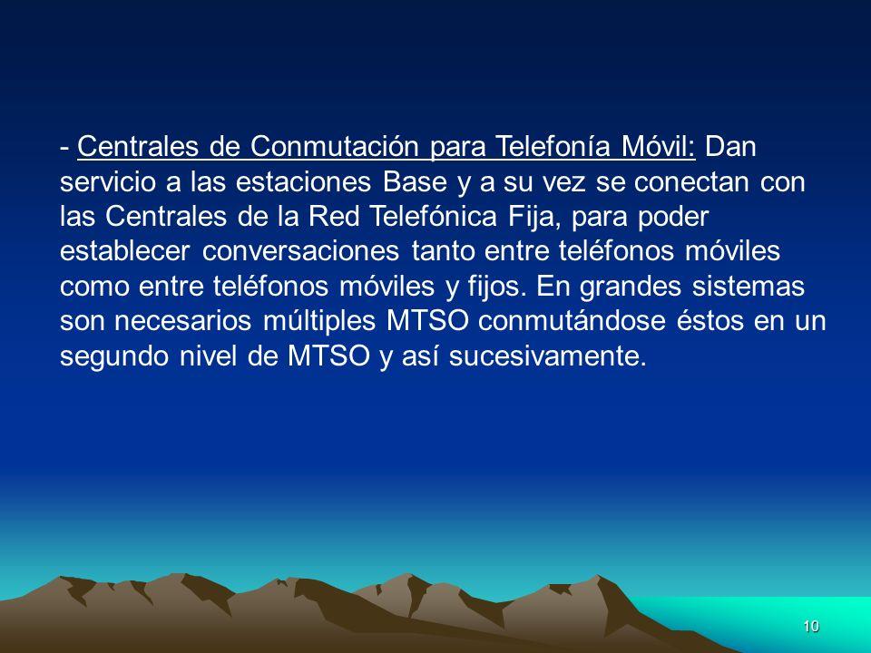 10 - Centrales de Conmutación para Telefonía Móvil: Dan servicio a las estaciones Base y a su vez se conectan con las Centrales de la Red Telefónica F