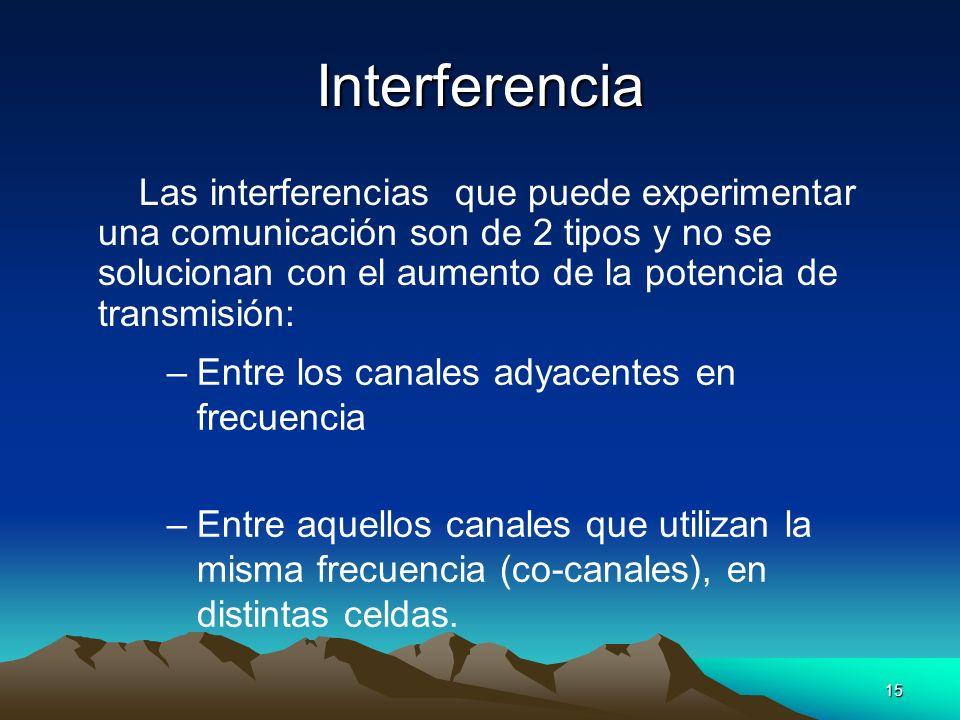 15 Interferencia Las interferencias que puede experimentar una comunicación son de 2 tipos y no se solucionan con el aumento de la potencia de transmi