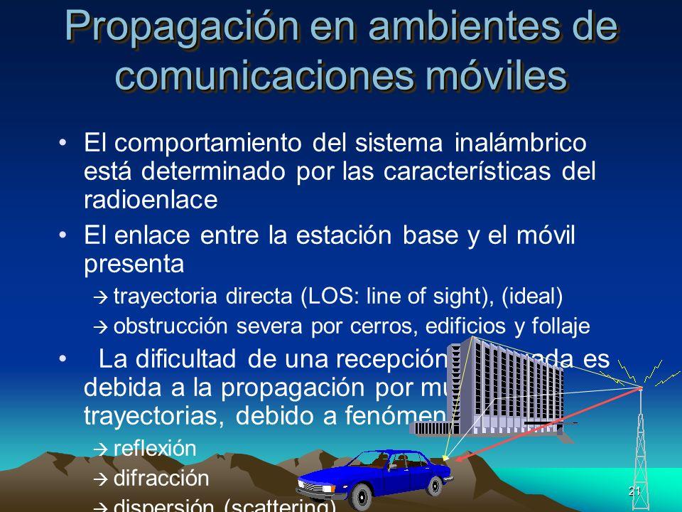 21 Propagación en ambientes de comunicaciones móviles El comportamiento del sistema inalámbrico está determinado por las características del radioenla