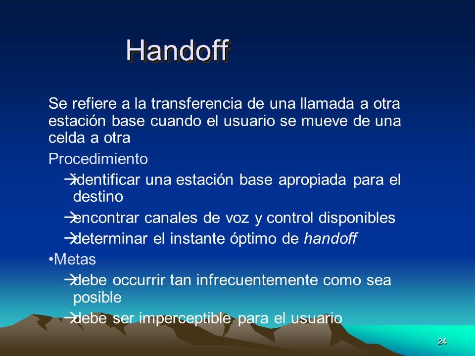 24 HandoffHandoff Se refiere a la transferencia de una llamada a otra estación base cuando el usuario se mueve de una celda a otra Procedimiento àiden