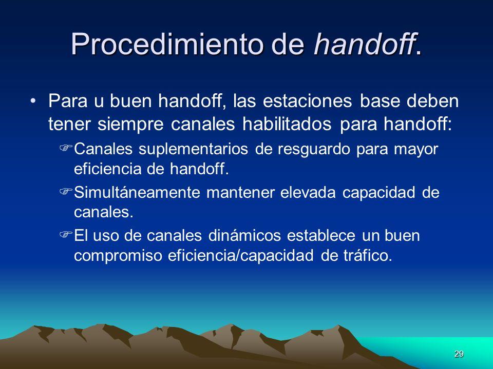 29 Procedimiento de handoff. Para u buen handoff, las estaciones base deben tener siempre canales habilitados para handoff: Canales suplementarios de