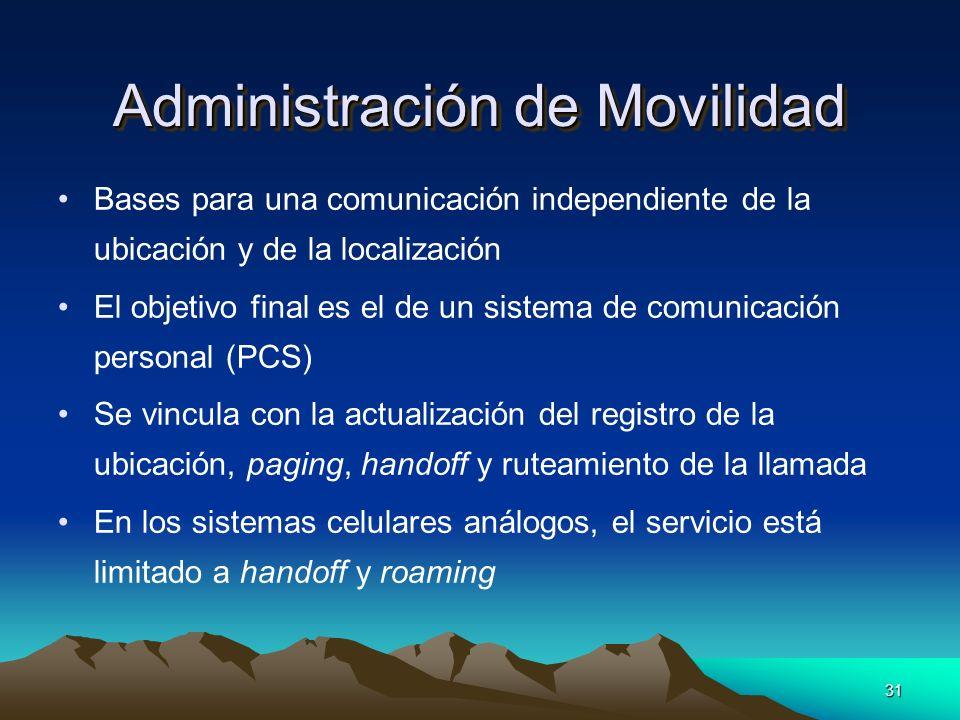 31 Administración de Movilidad Bases para una comunicación independiente de la ubicación y de la localización El objetivo final es el de un sistema de