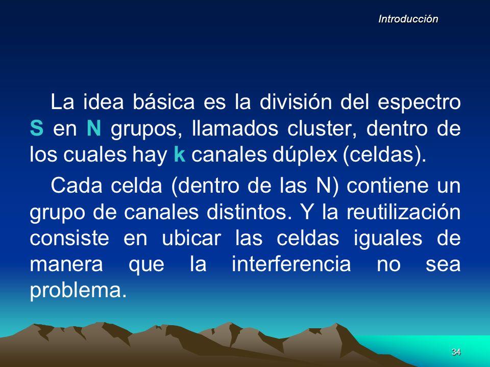 34 Introducción La idea básica es la división del espectro S en N grupos, llamados cluster, dentro de los cuales hay k canales dúplex (celdas). Cada c