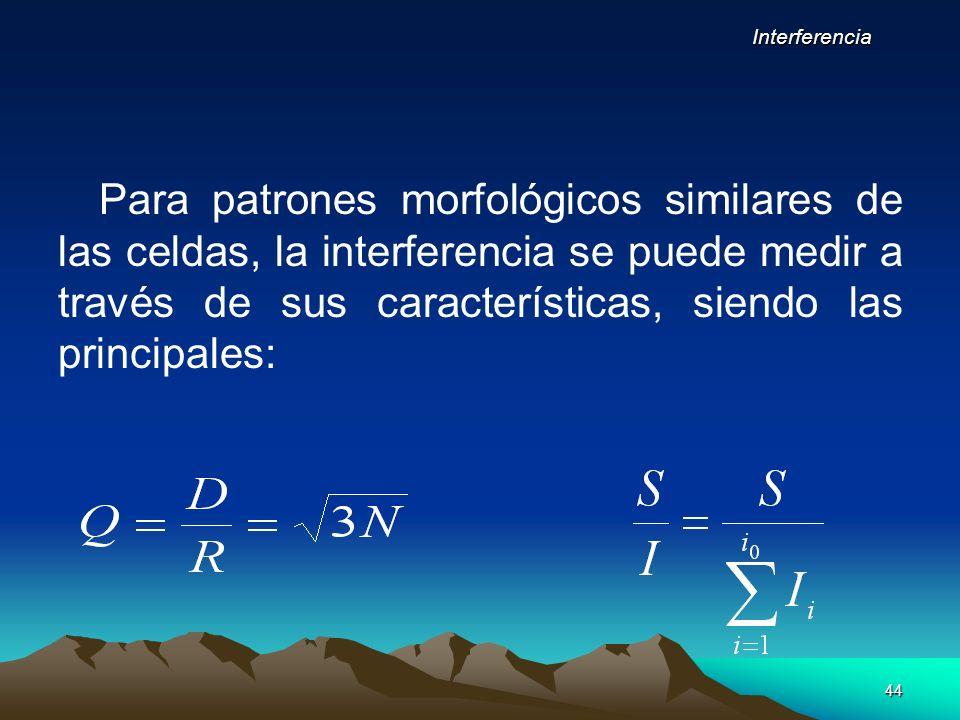 44 Para patrones morfológicos similares de las celdas, la interferencia se puede medir a través de sus características, siendo las principales: Interf