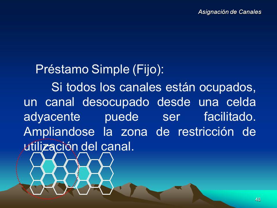 48 Préstamo Simple (Fijo): Si todos los canales están ocupados, un canal desocupado desde una celda adyacente puede ser facilitado. Ampliandose la zon