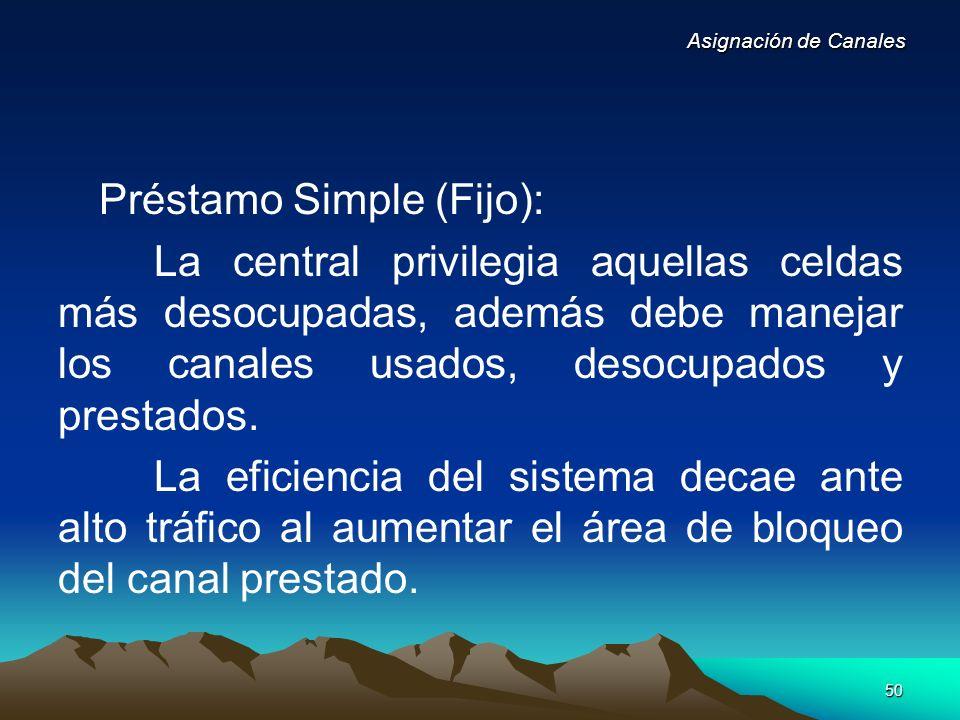 50 Préstamo Simple (Fijo): La central privilegia aquellas celdas más desocupadas, además debe manejar los canales usados, desocupados y prestados. La