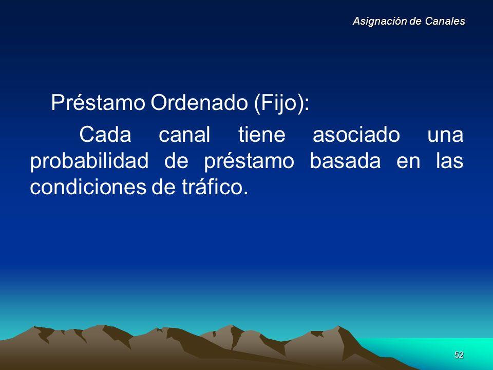 52 Préstamo Ordenado (Fijo): Cada canal tiene asociado una probabilidad de préstamo basada en las condiciones de tráfico. Asignación de Canales