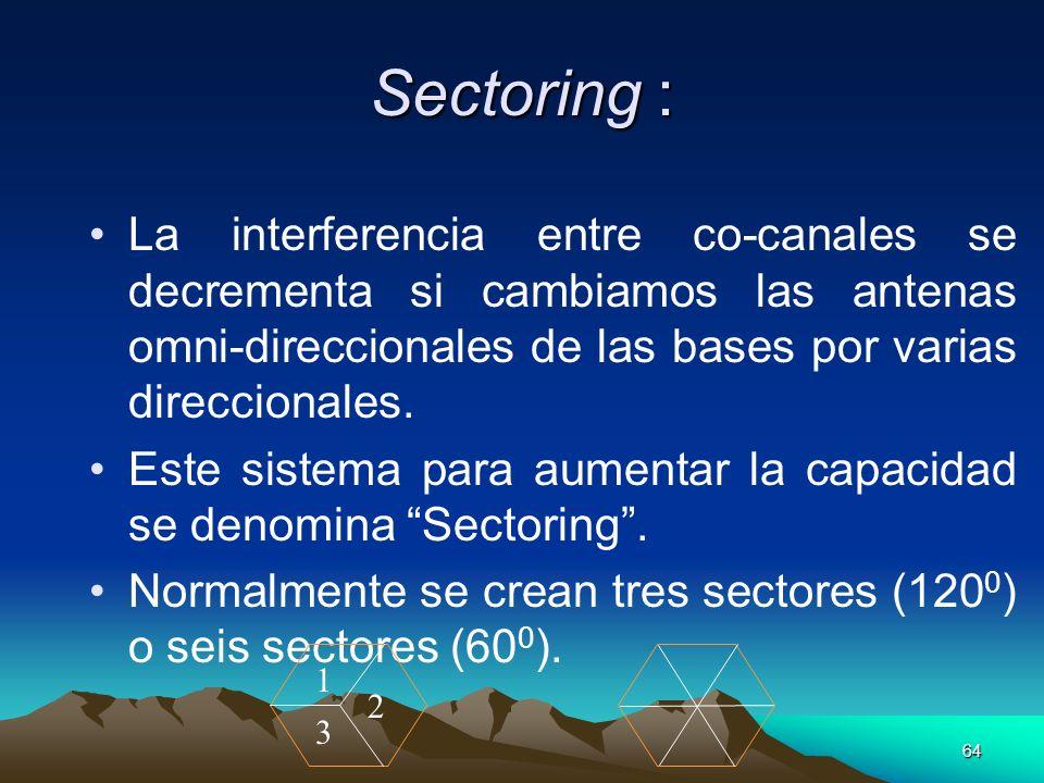 64 Sectoring : La interferencia entre co-canales se decrementa si cambiamos las antenas omni-direccionales de las bases por varias direccionales. Este