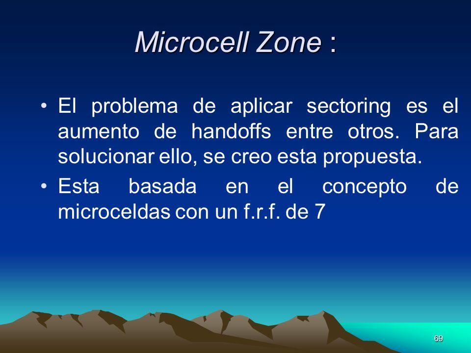 69 Microcell Zone : El problema de aplicar sectoring es el aumento de handoffs entre otros. Para solucionar ello, se creo esta propuesta. Esta basada