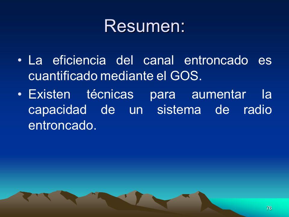 76 Resumen: La eficiencia del canal entroncado es cuantificado mediante el GOS. Existen técnicas para aumentar la capacidad de un sistema de radio ent