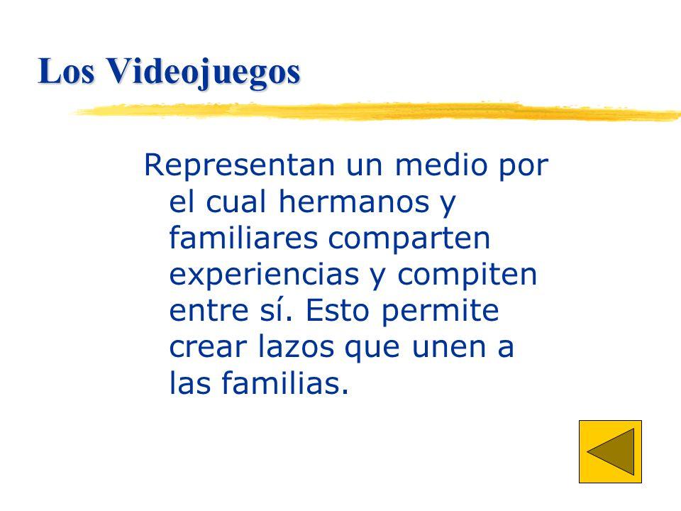 Los Videojuegos Representan un medio por el cual hermanos y familiares comparten experiencias y compiten entre sí.