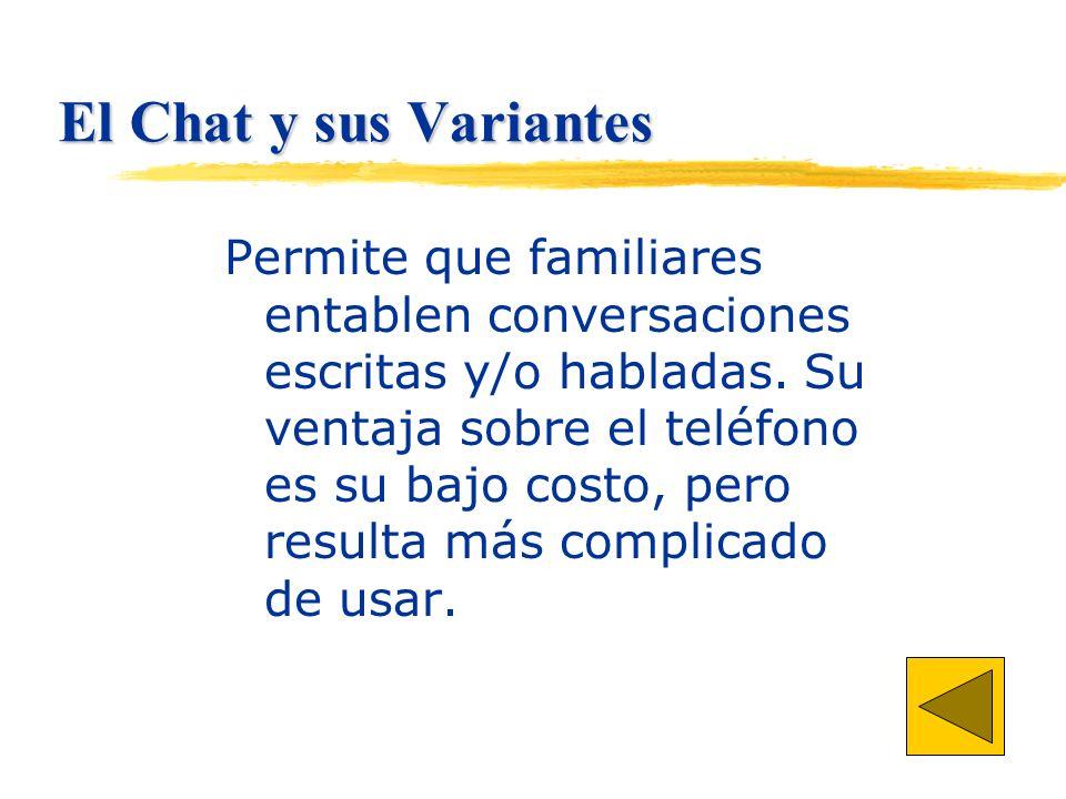 El Chat y sus Variantes Permite que familiares entablen conversaciones escritas y/o habladas.