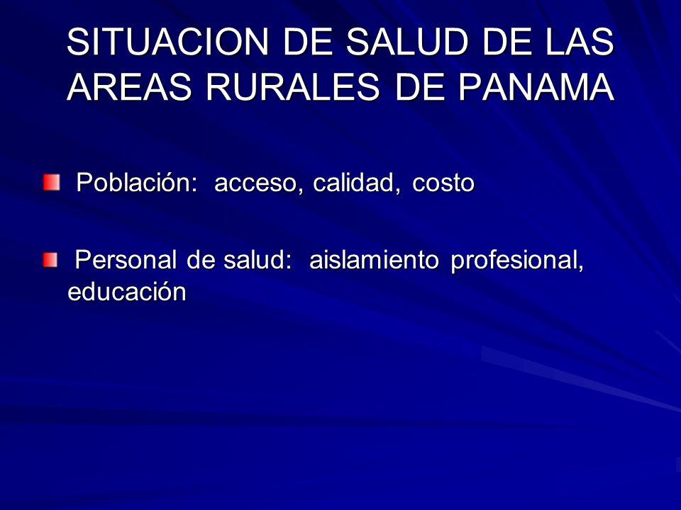 SITUACION DE SALUD DE LAS AREAS RURALES DE PANAMA ¿MODELO ACTUAL PODRA REVERTIR ESTAS SITUACIONES?
