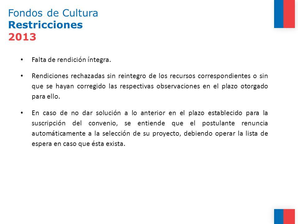 Fondos de Cultura Restricciones 2013 Falta de rendición íntegra. Rendiciones rechazadas sin reintegro de los recursos correspondientes o sin que se ha