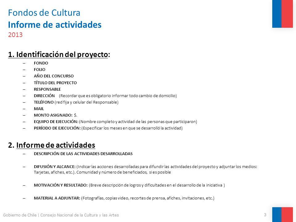 Fondos de Cultura Informe de actividades 2013 1. Identificación del proyecto: – FONDO – FOLIO – AÑO DEL CONCURSO – TÍTULO DEL PROYECTO – RESPONSABLE –