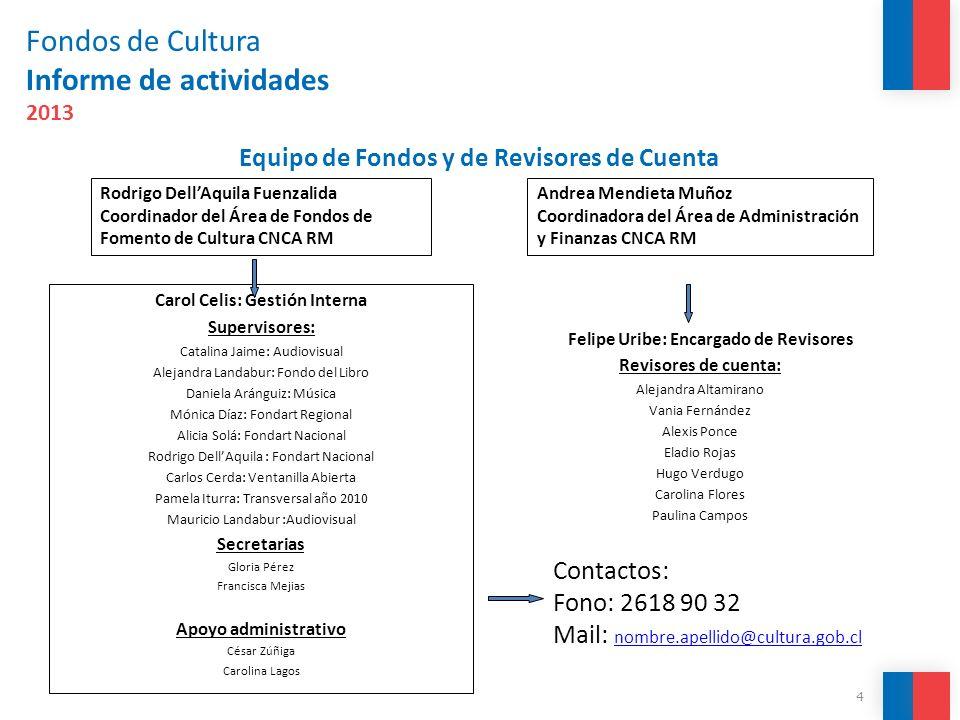 Fondos de Cultura Informe de actividades 2013 Carol Celis: Gestión Interna Supervisores: Catalina Jaime: Audiovisual Alejandra Landabur: Fondo del Lib