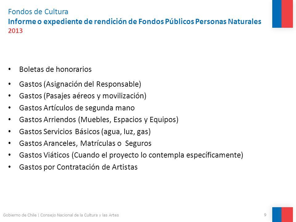 Fondos de Cultura Informe o expediente de rendición de Fondos Públicos Personas Naturales 2013 Boletas de honorarios Gastos (Asignación del Responsabl