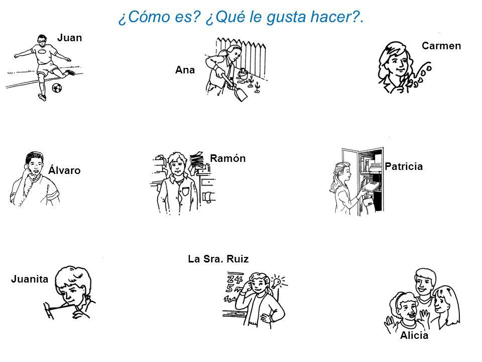 Alicia Juan ¿Cómo es? ¿Qué le gusta hacer?. Juanita Patricia Ana Carmen La Sra. Ruiz Álvaro Ramón