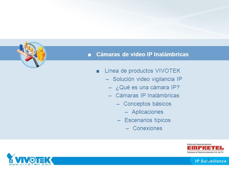 Outline Cámaras de video IP Inalámbricas Línea de productos VIVOTEK –Solución video vigilancia IP –¿Qué es una cámara IP? –Cámaras IP Inalámbricas –Co