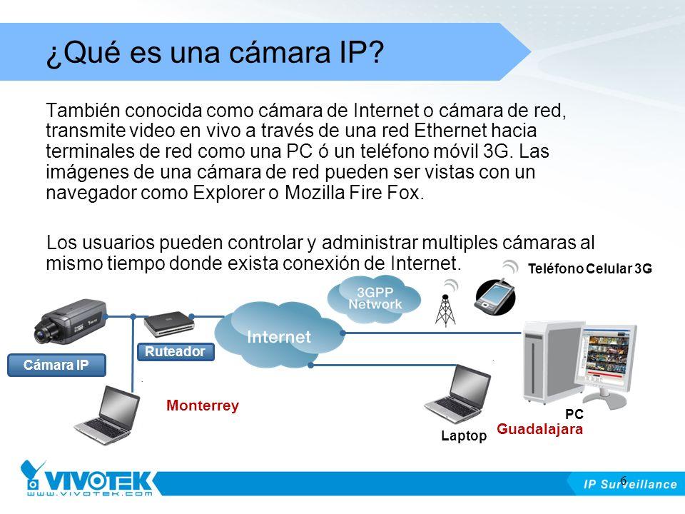 También conocida como cámara de Internet o cámara de red, transmite video en vivo a través de una red Ethernet hacia terminales de red como una PC ó u