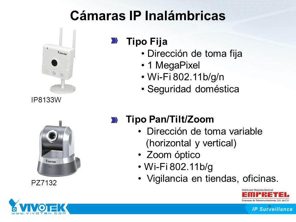 Cámaras IP Inalámbricas Tipo Fija Dirección de toma fija 1 MegaPixel Wi-Fi 802.11b/g/n Seguridad doméstica Tipo Pan/Tilt/Zoom Dirección de toma variab
