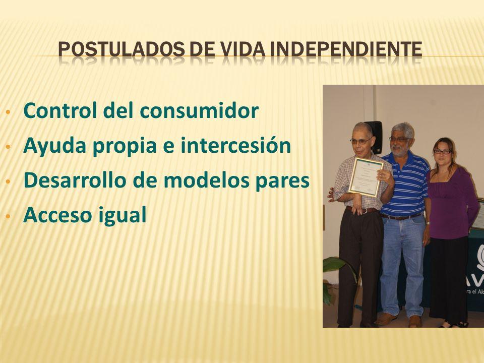 Control del consumidor Ayuda propia e intercesión Desarrollo de modelos pares Acceso igual